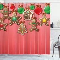 "Ambesonne Gingerbread Man Shower Curtain, Christmas Cookies and Baubles with Bowties Symbolic Pastry Kids Design, Cloth Fabric Bathroom Decor Set with Hooks, 70"" Long, Pale Ruby"
