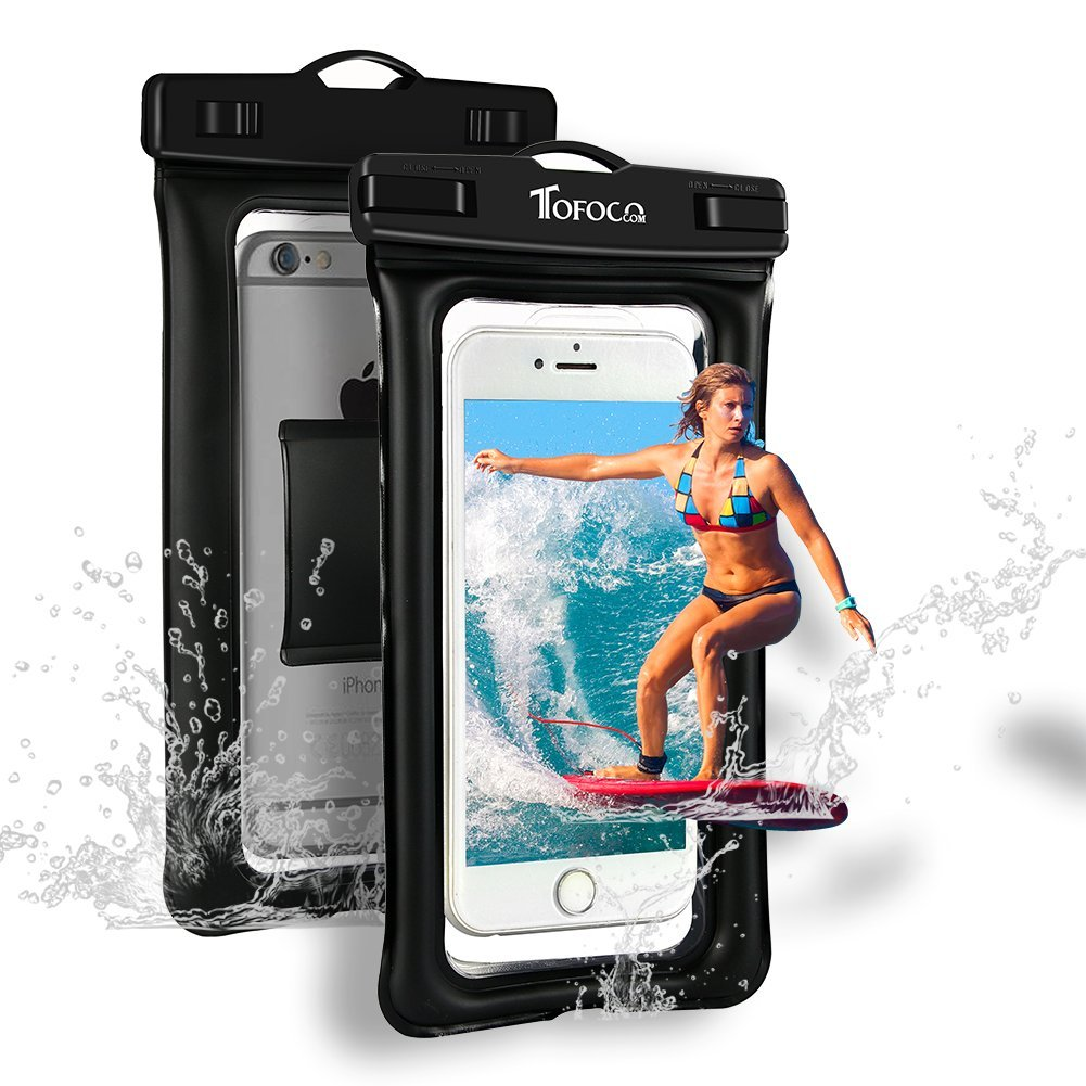 """TOFOCO COM Universal Waterproof Case, IPX8 Waterproof Phone Pouch Dry Bag Compatible for iPhone 11/11 Pro Max/Xs Max/XR/X/8/8P Galaxy up to 6.8"""", Phone Pouch for Beach Kayaking Travel or Bath, Black"""