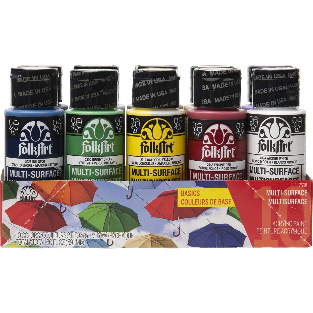 FolkArt 7508 Color, 10 Bottle Multi-Surface Acrylic Paint Set, 2oz, Basics