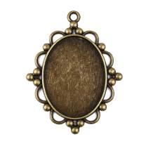 Bezel Pendant Trays Oval Cabochon Settings Trays Pendant Blanks for Jewelry Making 10Pcs #10