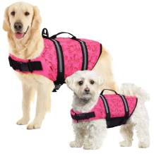 SUNFURA Ripstop Dog Life Jacket, Safety Pet Flotation Life Vest with Reflective Stripes and Rescue Handle, Adjustable Puppy Lifesaver Swimsuit Preserver for Small Medium Large Dogs (Pink, L)