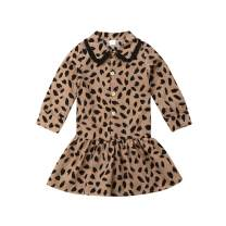 Toddler Kids Baby Girl Party Dresses Chiffon Leopard Print Rompers Bodysuits Long Sleeve Club Outfit Clothes