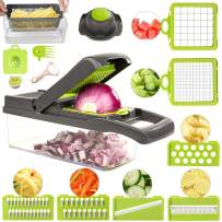 Vegetable Chopper Slicer, Onion Chopper Slicer with Container, 12 in 1 Chopper Dicer Kitchen Cutter for Carrots, Cabbage, Potato, Garlic, Tomato, Fruit, Salad