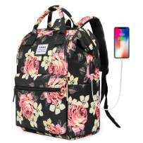 BRINCH Laptop Backpack 15.6 Inch Wide Open Computer Backpack Laptop Bag College Rucksack Water Resistant Business Travel Backpack Multipurpose Daypack with USB Charging Port for Women Girls, Peony