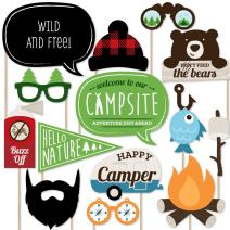 Big Dot of Happiness Happy Camper - Camping Photo Booth Props Kit - 20 Count