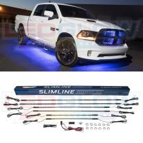 LEDGlow 6pc Blue Truck Slimline LED Underbody Underglow Accent Neon Lighting Kit - Solid Color Illumination - Water Resistant, Low Profile Tubes - Included Power Switch Turns Lights On & Off