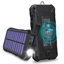 Wireless Charger Solar Phone Charger 24000mAh Tranmix 18W PD Power Bank with 4 Outputs & QC 3.0 Portable Charger Battery Pack for Most Phones, Tablets, LED Flashlights and Outdoor Waterproof