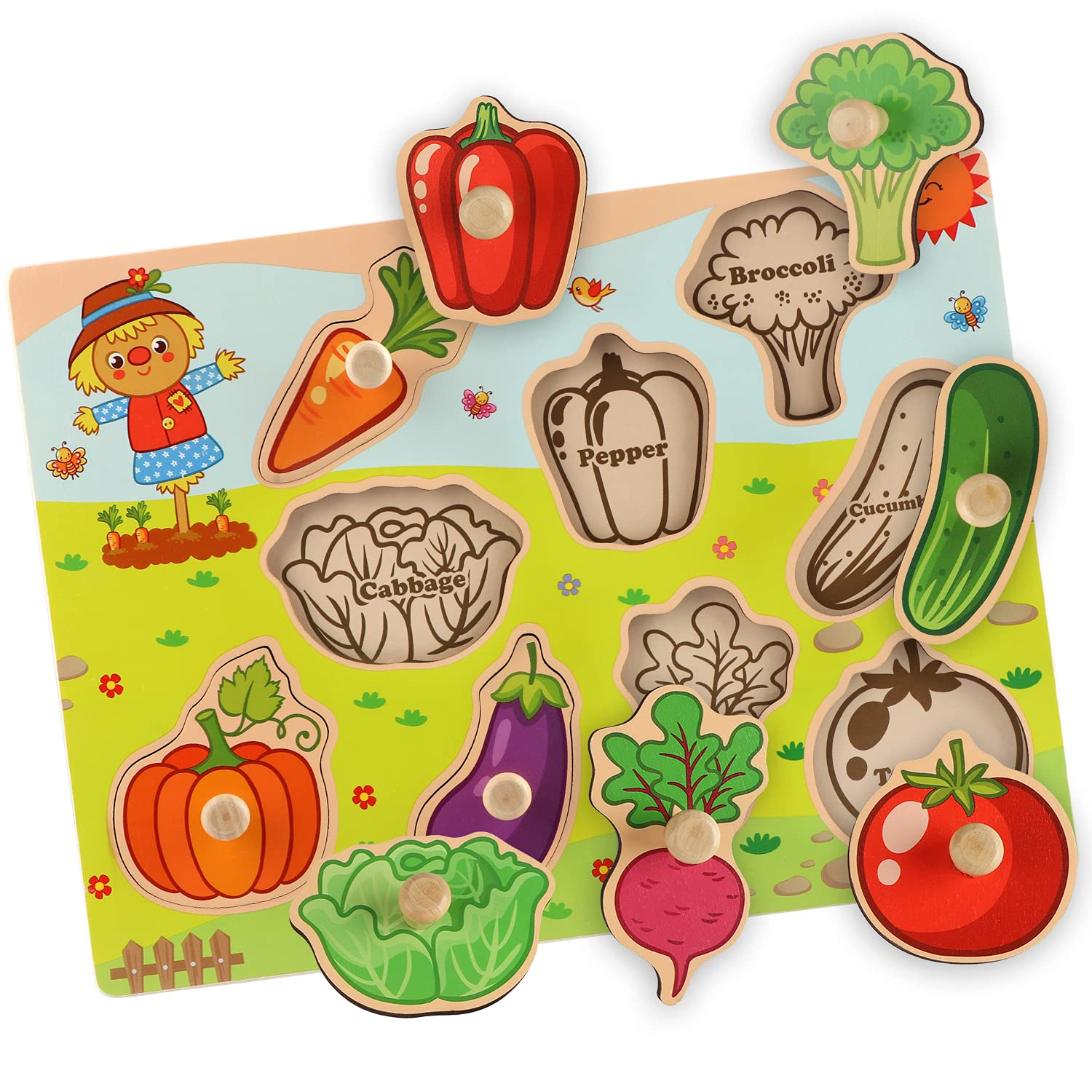BeanGenius Toddler Puzzles, Learning Toys for Toddlers 1-3 Early Preschool Educational Wooden Puzzle Toys for Toddlers Gift for Boys Girls-Vegetables