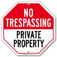 "Private Property No Trespassing Sign, Octagon Shaped Outdoor Rust-Free Metal, 11"" x 11"" - by My Sign Center, A90-270AL"