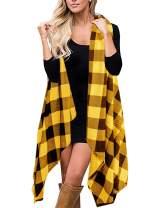 Womens Plus Size Sleeveless Plaid Long Cardigans Asymmetrical Hem Drape Open Front Vest Outwear