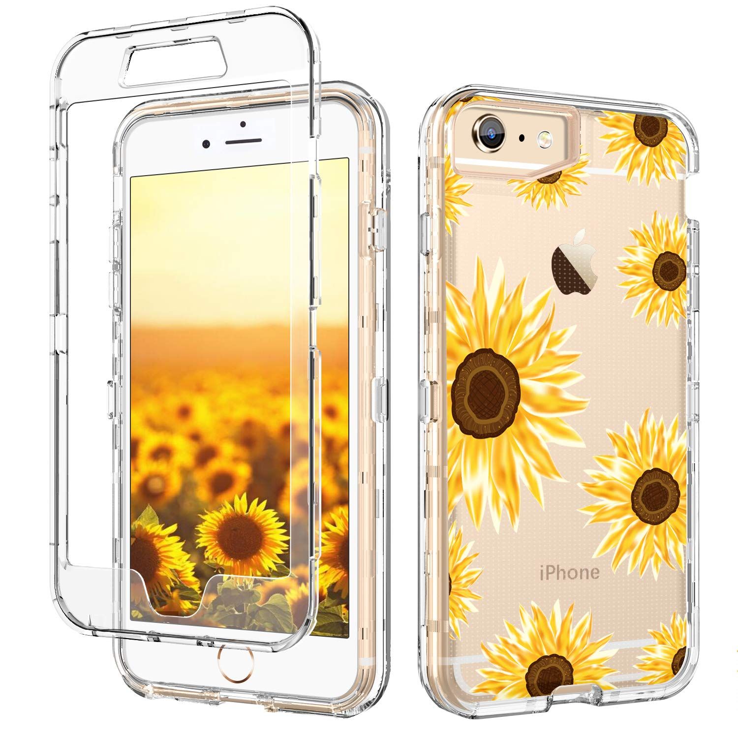 GUAGUA iPhone 6S Plus Case iPhone 6 Plus Case Clear Transparent Cover Sunflower Floral Printed Three Layer Hybrid Hard PC Soft Rubber Shockproof Protective Phone for iPhone 6 Plus/6S Plus Yollow