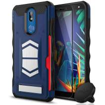 ZIZO Electro Series Compatible with LG K40 and LG Harmony 3 with Tempered Glass, Card Slot, Built in Magnet, Air Vent Magnetic Holder Dark Blue