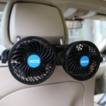 Car Fan, XOOL Electric Car Fans for Rear Seat Passenger Portable Car Seat Fan Headrest 360 Degree Rotatable Backseat Car Fan 12V Cooling Air Fan with Stepless Speed Regulation for SUV, RV, Vehicles