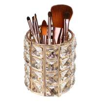 Hipiwe Makeup Brush Holder - Handcrafted Crystal Make up Organizer Pen/Pencil Cup Container Cosmetics Brush Storage Holder for Home, Bathroom, Office (Gold)