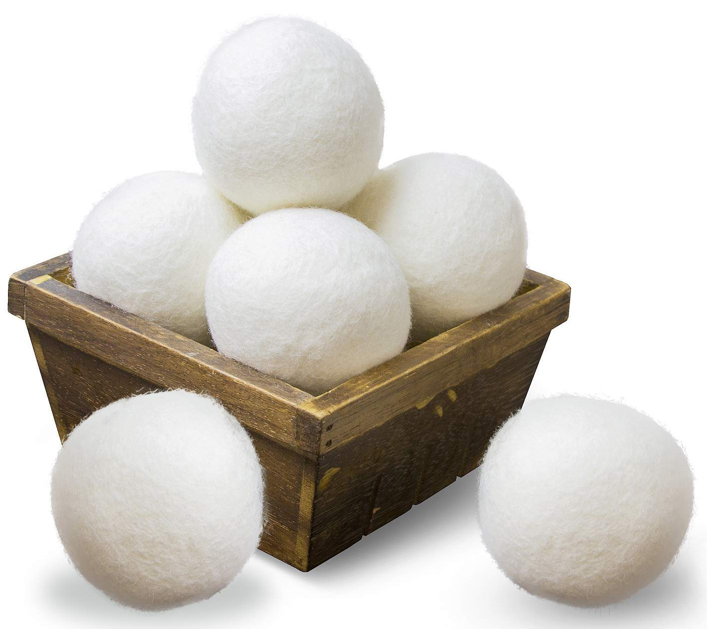 SnugPad Wool Dryer Balls XL Size 6 Pack, Natural Fabric Softener 100% Organic Premium New Zealand Wool, Chemical Free and Reduces Wrinkles, 1000+ Loads, Baby Safe, Saving Energy & Time, White 6 Count
