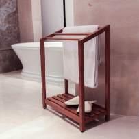 Cambridge Casual Solid Wood Estate Freestanding Towel Rack with Shelf, Natural Teak