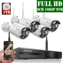 【2020 Update】 OOSSXX 8-Channel HD 1080P Wireless Security Camera System,4Pcs 1080P 2.0 Megapixel Wireless Indoor/Outdoor IR Bullet IP Cameras,P2P,App, HDMI Cord & 1TB HDD