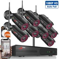 Wireless Home Security Camera System Outdoor,ANRAN 8CH Full HD 1080P WiFi Video Surveillance System NVR Kit with 2TB Hard Drive,8pcs 2.0MP Wireless IP Cameras IR Night Vision,Plug and Play,Free APP