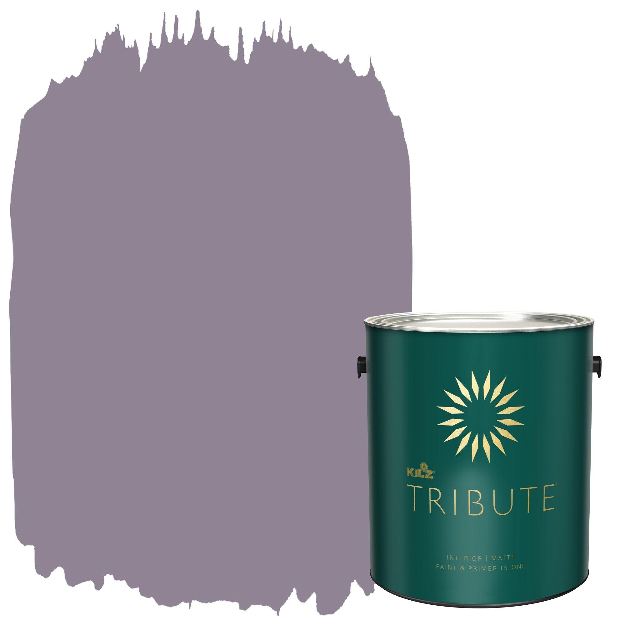 KILZ TRIBUTE Interior Matte Paint and Primer in One, 1 Gallon, Orchid Smoke (TB-27)