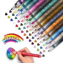 Acrylic Paint Marker Pens - Set of 28 Colors Water Based for Rock Painting, Stone, Glass, Wood, Paper Decoration,Custom Mug Design,DIY Project, Gifts for Kids (28 Colors)