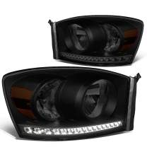 Pair Smoked Housing Amber Side LED Strip DRL Headlight Lamps Replacement for Dodge Ram 1500 2500 3500 06-09