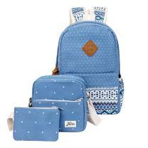 HONEYJOY Canvas Backpack Set 3 Pieces Kids Book Bag School Backpack Handbag Purse Girls Teen (Large, Blue)