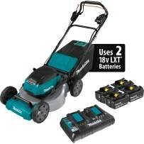 """Makita XML08PT1 (36V) LXT Lithium‑Ion Brushless Cordless 18V X2 21"""" Self Propelled Lawn Mower Kit with 4 Batteries, Teal"""