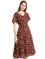 Gardenwed Floral Chiffon Dresses for Women Flowy Homecoming Cocktail Dress Summer Beach Sun Dress
