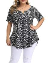 Allegrace Women's Plus Size Floral Blouses Henley V Neck Button Up Tunic Tops Ruffle Flowy Short Sleeve T Shirts