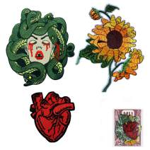 MUNAN-3PC-Sunflower X-Ray Anatomical Heart Medusa-Embroidered Badge Iron On Sew On Patch