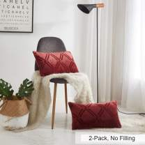 """PHF Flannel Throw Pillow Covers 12"""" x 20"""" Purpish Red Super Soft Cozy Warm Decorative for Bed Sofa Chair Couch Travel Pets Microfiber"""