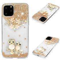 iPhone 11 Pro Case, Mavis's Diary 3D Handmade Luxury Bling Parent-Child Owl Golden Flowers Shiny Crystal Diamond Glitter Rhinestone Gems Clear Hard PC Cover for iPhone 11 Pro