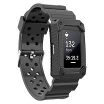 MORETEK for Charge2 Band Tough Hard Hybrid Cover Dual Layer Armor Defender Case Wrist Strap for Fitbit Charge 2 Replacement Bands
