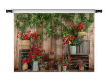 Kate 10x6.5ft Valentine's Day Backdrop Flowers Backdrops Rustic Wood Wall Branch Floral Party Decoration Photo Props
