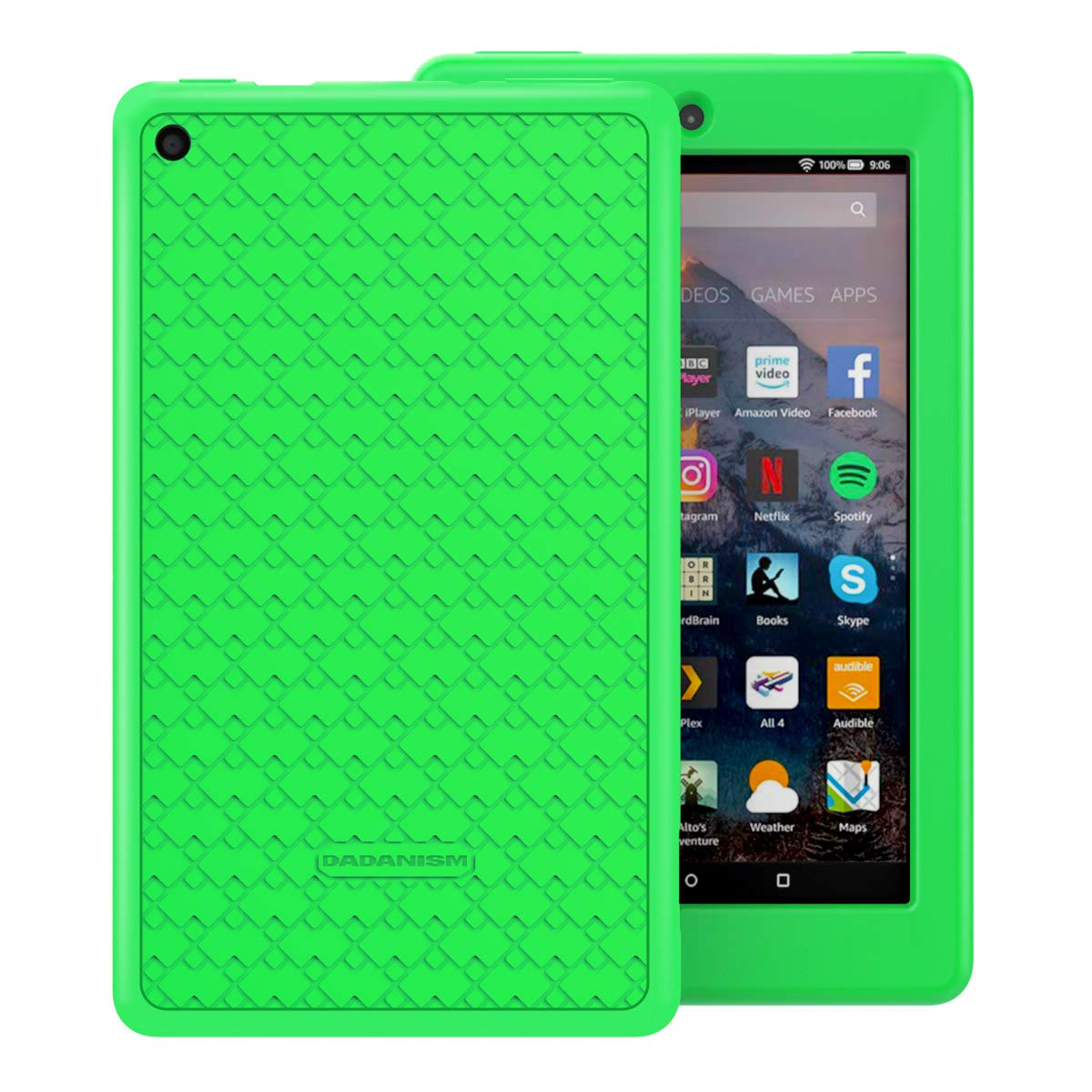 Dadanism Silicone Case Fits All-New Amazon Kindle Fire 7 Tablet (9th Generation, 2019 Release Only), Heavy Duty Lightweight Shock Proof Kids Friendly Protective Back Cover, Corner Protection - Green
