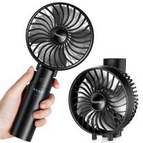 toyuugo Mini Handheld Fan with Rechargeable Power Bank, Personal Portable Folding Cooling Desk Fan Suitable for Office Room Outdoor Household Traveling (3 Speeds, Black)