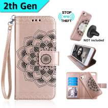 CASEOWL iPhone 8&iPhone 7 Case,Mandala Flower Embossed Upgrade Version Lanyard Wallet Case for iPhone 7/8,Magnetic Detachable TPU Case,RFID Protection,Fit Car Mount,H/V Stands,Card Slots[Rose Gold]