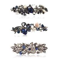 Kicosy Barrettes for Women Hair Barrettes for Women 3 Pack Vintage Shining Rhinestone Hair Barrettes Metal Flower Butterfly French Clip Faux Crystal Hair clip Spring Hair Barrette,Black and Navy Blue