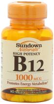 Sundown High Potency, Vitamin B-12 1000 mcg, 60 tablets (Pack of 4)