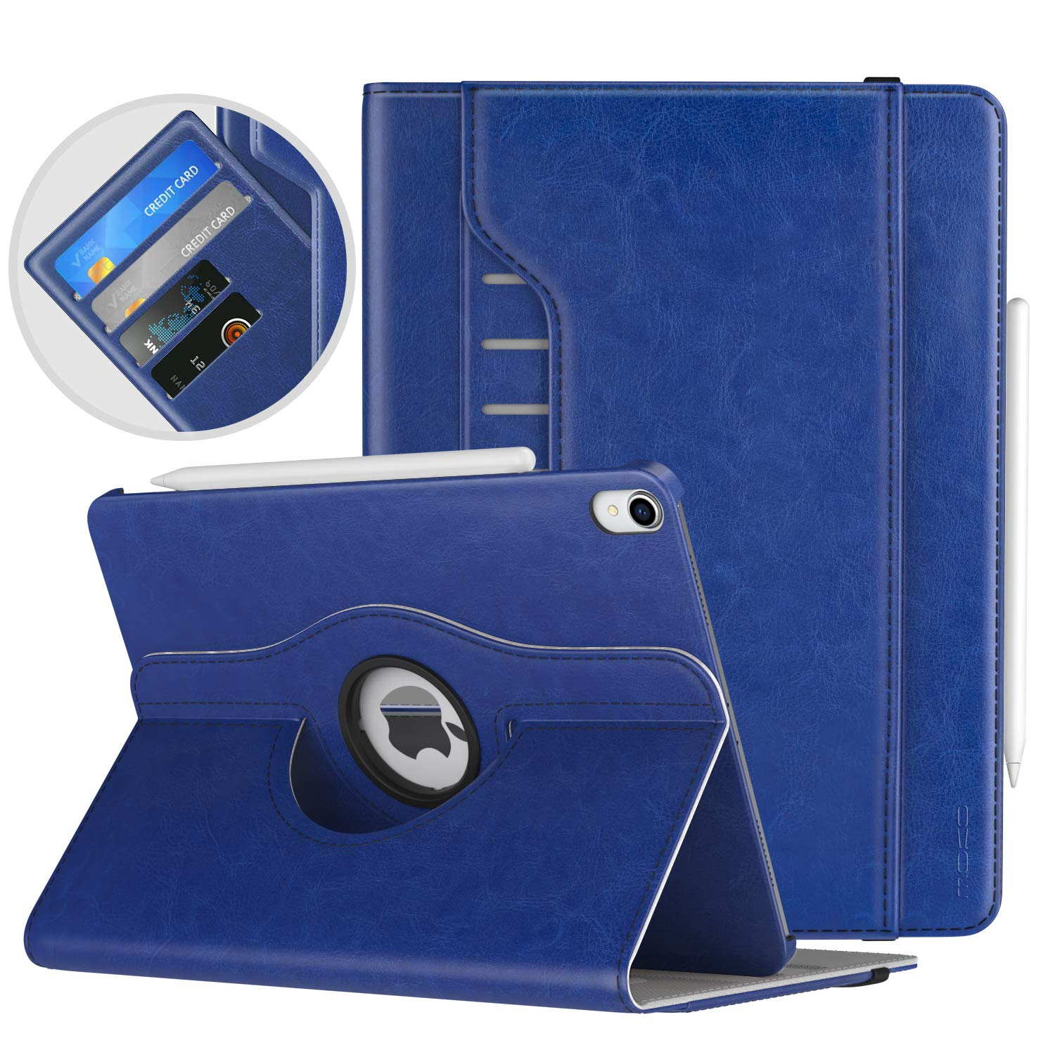 """MoKo Case Fit iPad Pro 11"""" 2018 - Support Pencil Charging - 360 Degree Rotating Leather Cover Slim Folio Multi-Angle Viewing Stand Case, Auto Wake/Sleep Fit iPad Pro 11 2018 Case - Indigo"""
