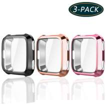 KPYJA for Fitbit Versa Protective Case, Slim Screen Protector Plated TPU Case Scratch Resistant Cover for Fitbit Versa Smart Watch (Black/ Rose Pink/ Rose Gold)