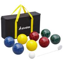 Aivalas Bocce Ball Set, 107mm Bocci Ball Set with 8 Resin Balls, Pallino, Measuring Tape, Carrying Bag, Bocce Balls Game for Outdoor Yard Backyard Lawn Beach(2-8 Players)