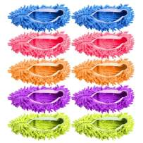 Mop Slippers, Disposable Sock for Guest Microfiber Floor Cleaner Foot Shoe Covers Dust Mop Slippers Duster House Cleaning for Men Women Bathroom, Office, Kitchen, House Polishing, Washable,5 Pairs