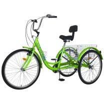 Adult Tricycles, 3 Wheel Bikes for Adults 20/24/26 inch 7 Speed Adult Trikes Bicycles Cruise Trike with Large Basket for Recreation, Shopping, Exercise Men's Women's Bike