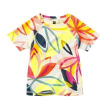 Tea Collection Rash Guard Short Sleeve Swim Shirt, Girls, Tradewinds Floral