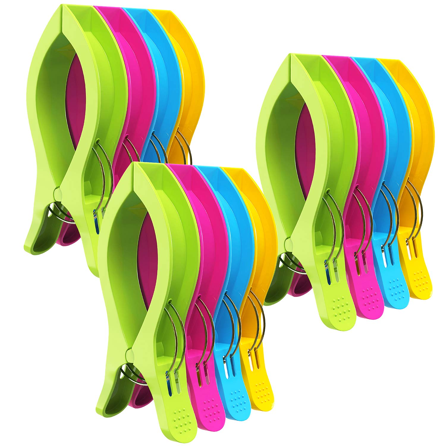 Attmu Beach Towel Clips for Beach Chairs(12 Pack), Towel Holder in Fun Bright Colors, Keep Towel from Blowing Away (D-12 Pack)