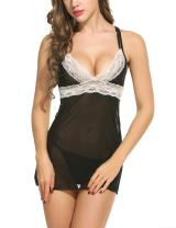 Avidlove Women Babydoll Sexy Lingerie Set Sleepwear Mesh Lace Chemises Outfit