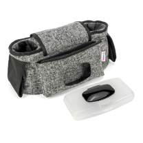Universal Stroller Organizer with Cup Holders | Baby Diaper Bag/Caddy with non-slip straps
