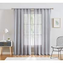 """Fmfunctex Grey Sheer Curtains Window Panels 63"""" Semi Sheer Draperies for Bedroom Curtain 1 Pair"""