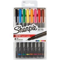 Sharpie Art Pens, Fine Point, Assorted Colors, Hard Case, 8 Pack (1982056)